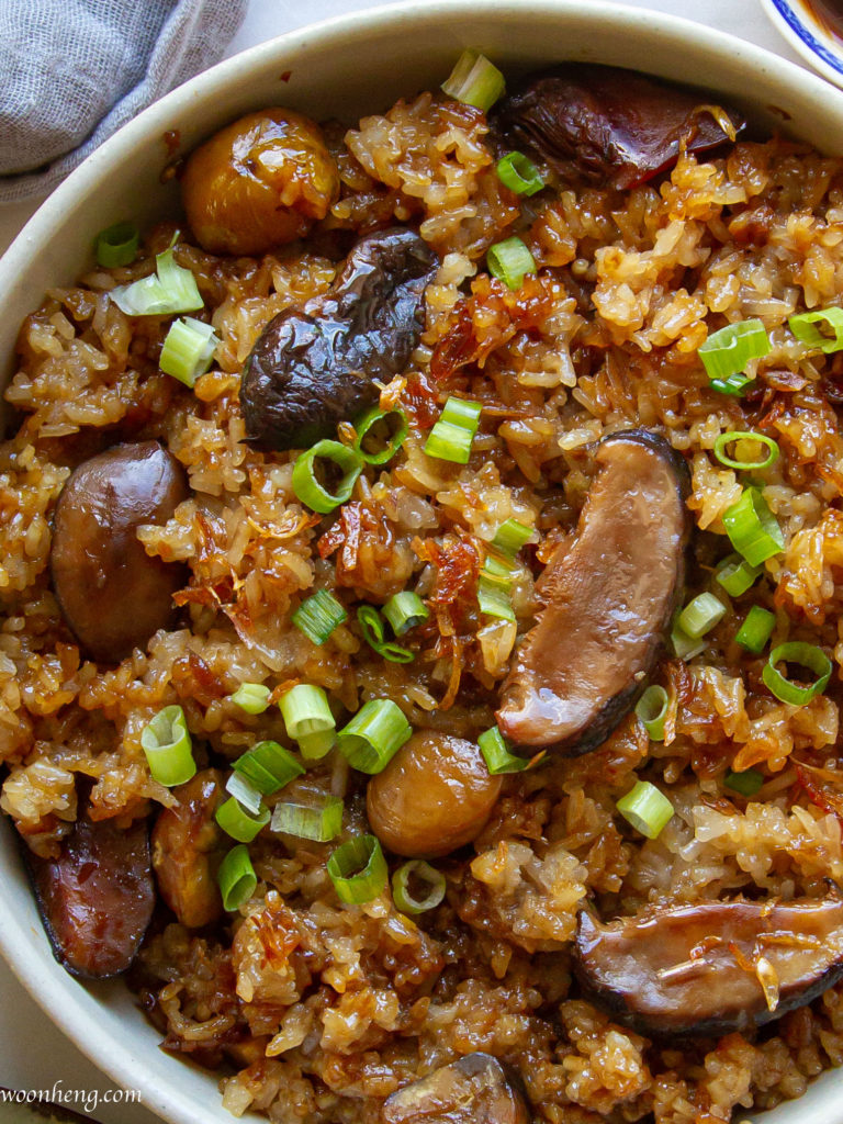 chestnut-mushrooms-sticky-rice